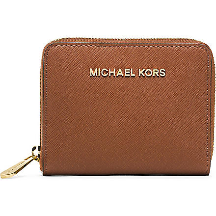 MICHAEL KORS Small saffiano leather wallet (Luggage