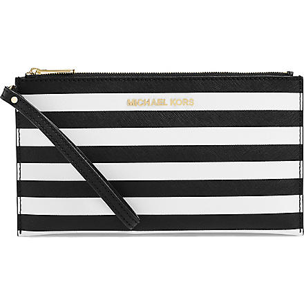 MICHAEL KORS Saffiano leather pouch (Black/white