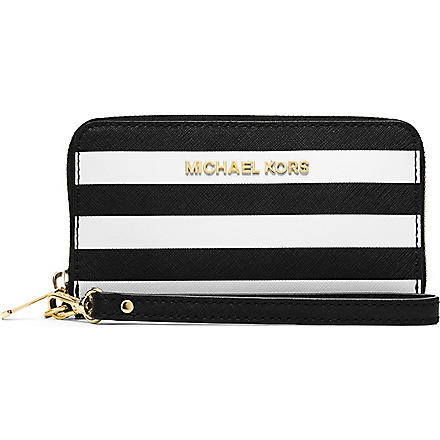 MICHAEL KORS Multifunctional saffiano leather phone case (Black/white