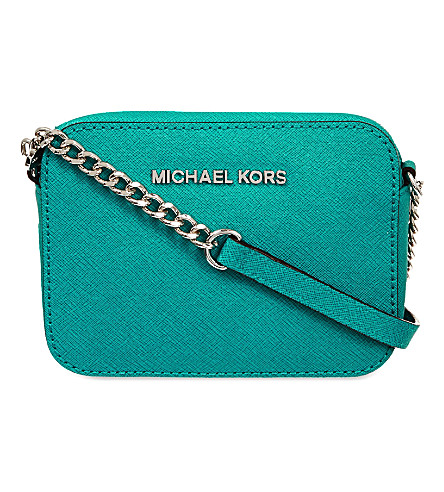 MICHAEL MICHAEL KORS Jet Set Travel saffiano-leather cross-body bag (Aqua