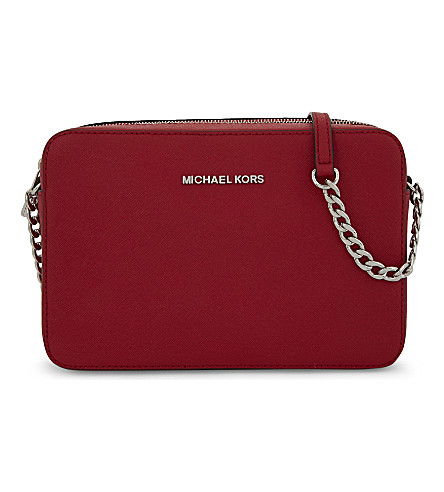 MICHAEL MICHAEL KORS Jet Set Travel leather cross-body bag (Bright+red