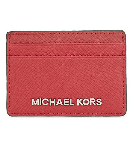 MICHAEL MICHAEL KORS Jet Set Travel leather card holder (Chili