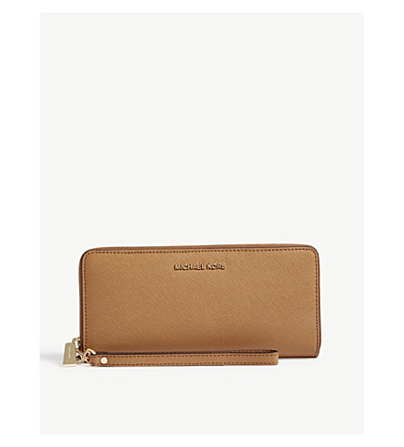 MICHAEL MICHAEL KORS Jet Set Travel leather continental zip-around wallet (Acorn