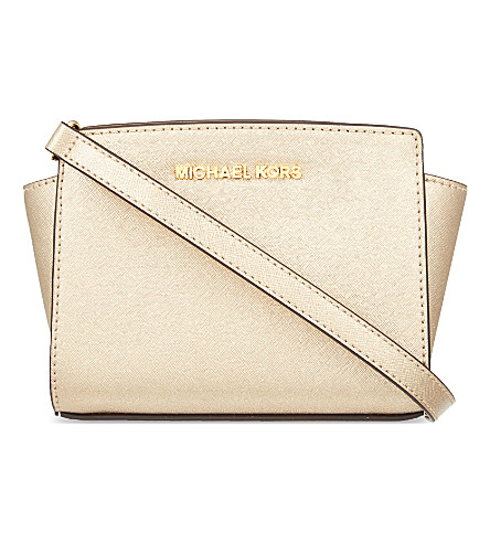 MICHAEL MICHAEL KORS Selma mini Saffiano leather messenger bag (Pale+gold