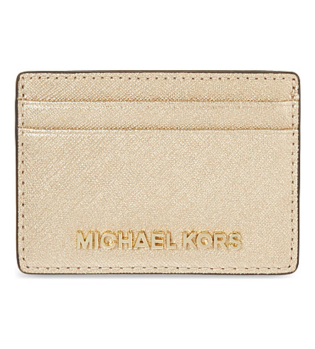 MICHAEL MICHAEL KORS Jet Set Travel leather card holder (Pale+gold