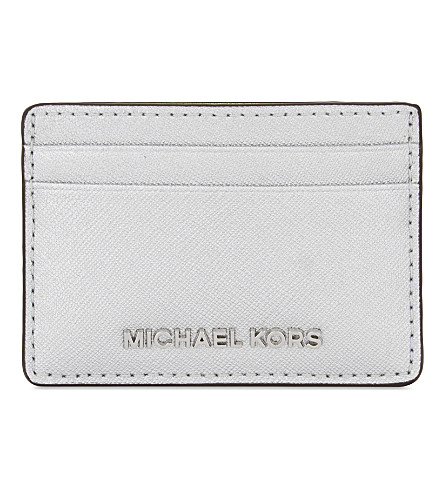MICHAEL MICHAEL KORS Jet Set Travel leather card holder (Silver