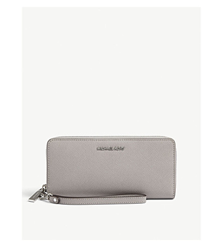 MICHAEL MICHAEL KORS Jet Set Travel leather continental wallet (Pearl+grey