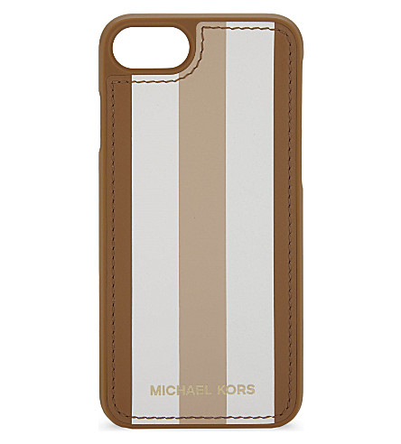 MICHAEL MICHAEL KORS Striped logo iPhone 7 case (Acrn/wt/oyst