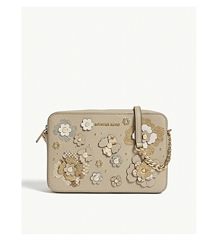 MICHAEL MICHAEL KORS Metallic floral large leather cross-body bag (Oat+multi
