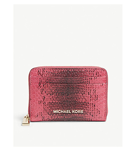 MICHAEL MICHAEL KORS Money Pieces python-embossed leather purse (Ultra+pink