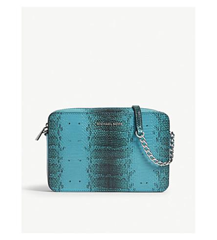 MICHAEL MICHAEL KORS East/West crocodile-embossed large leather cross-body bag (Tile+blue