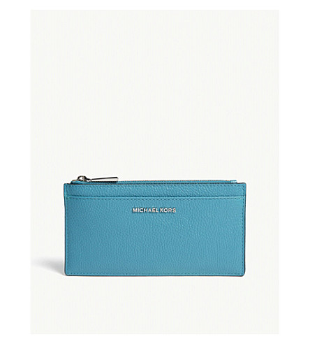 MICHAEL MICHAEL KORS Large slim leather card holder (Tile+blue