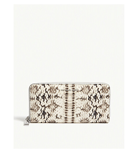 MICHAEL MICHAEL KORS Money Pieces snake-embossed leather continental wallet (Natural