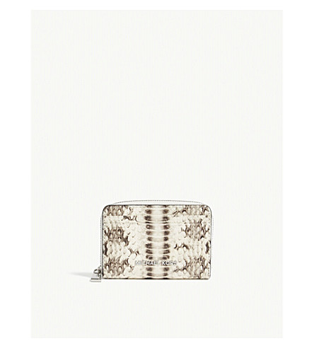 MICHAEL MICHAEL KORS Money Pieces snake-embossed leather card purse (Natural