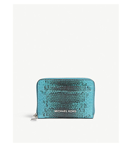 MICHAEL MICHAEL KORS Money Pieces snake-embossed leather card purse (Tile+blue
