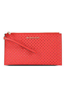 MICHAEL KORS Jet Set perforated-leather clutch