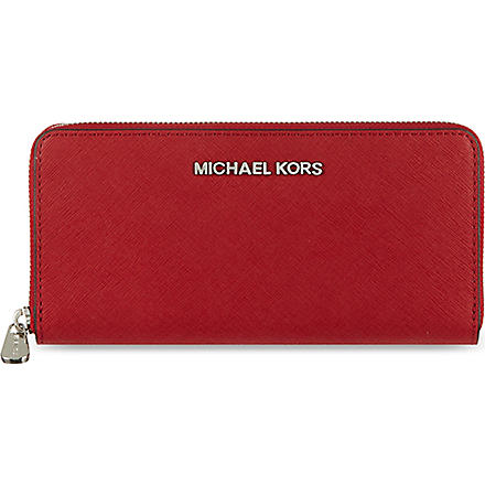 MICHAEL KORS Jet Set zip around continental travel wallet (Scarlet