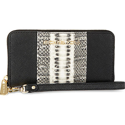 MICHAEL KORS Jet Set snake-stripe phone case (Snake/blk