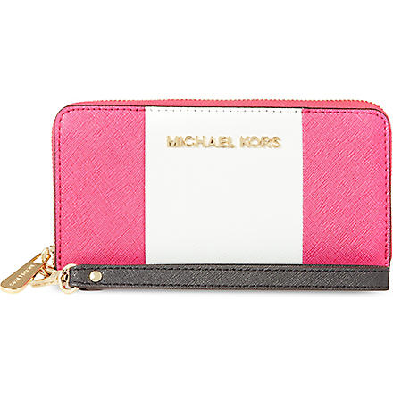 MICHAEL MICHAEL KORS Jet set multi-function leather wallet (Rasp/wht/lugg