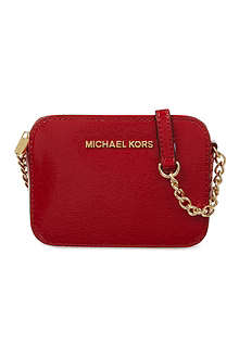 MICHAEL MICHAEL KORS Jet Set Travel saffiano patent-leather cross-body bag