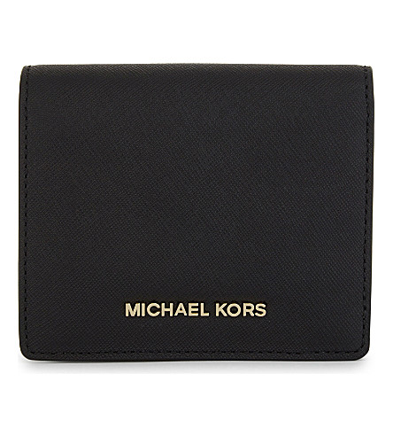 MICHAEL MICHAEL KORS Jet Set Saffiano leather card holder (Black