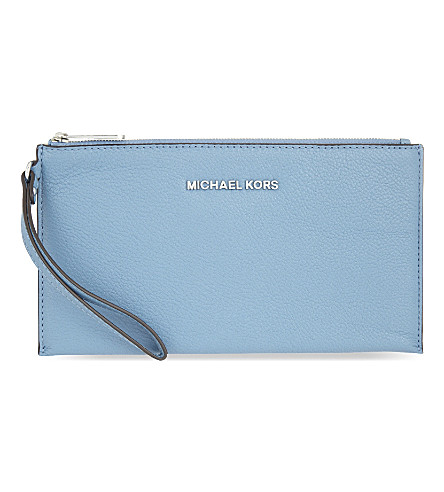 MICHAEL MICHAEL KORS Bedford large leather clutch (Sky