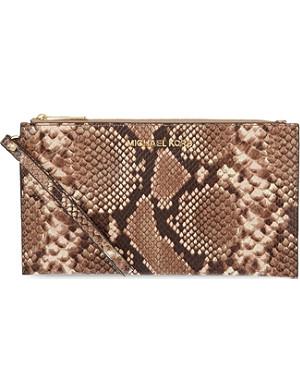 MICHAEL MICHAEL KORS Jet Set Travel snake-print zip clutch