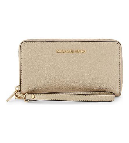 MICHAEL MICHAEL KORS Jet set travel leather purse (Pale+gold
