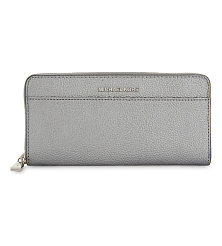 MICHAEL MICHAEL KORS Mercer Continental metallic leather wallet (Lt+pewter
