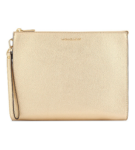 MICHAEL MICHAEL KORS Mercer leather travel pouch (Pale+gold