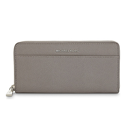 MICHAEL MICHAEL KORS Money Pieces Saffiano leather continental wallet (Pearl+grey