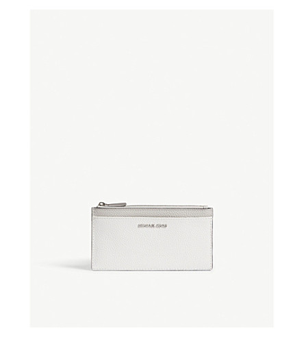 MICHAEL MICHAEL KORS Grained leather zipped card case (Wht/pgy/alum