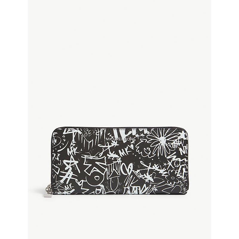 Money pieces graffiti leather wallet