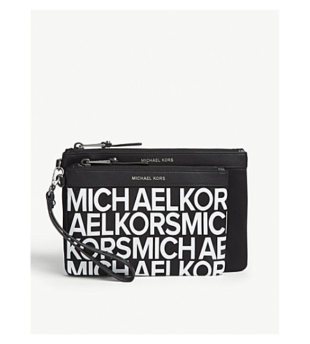 MICHAEL MICHAEL KORS Leather pouch set of two (Blk/optwhite