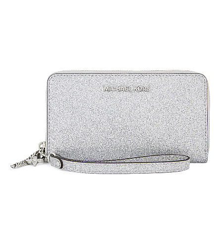 MICHAEL MICHAEL KORS Alex glitter multi-function phone wallet (Silver