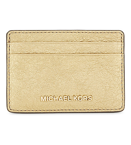 MICHAEL MICHAEL KORS Crackled metallic leather card holder (Gold