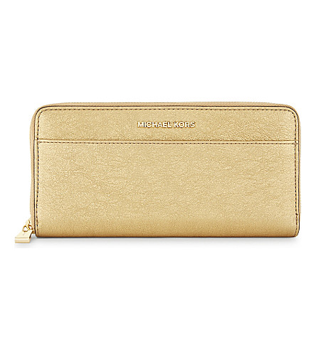 MICHAEL MICHAEL KORS Textured metallic leather wallet (Gold