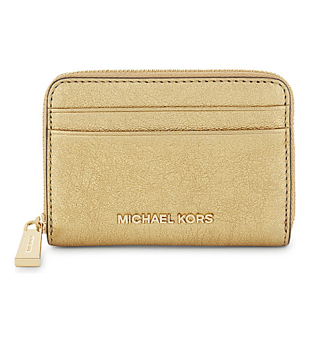 MICHAEL MICHAEL KORS Crackled leather zip-around card case (Gold