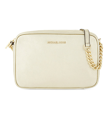 MICHAEL MICHAEL KORS Ginny metallic leather cross-body camera bag (Pale+gold