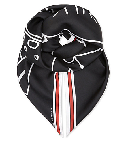 GIVENCHY Bambi silk scarf (Black/white