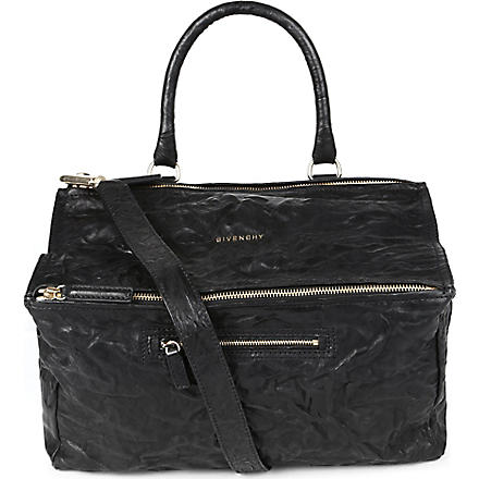 GIVENCHY Pandora large washed leather satchel (Black