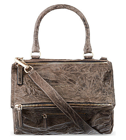 GIVENCHY Pandora medium washed leather satchel (Charcoal