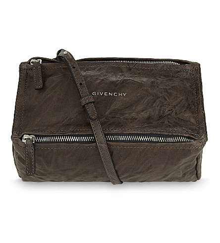 GIVENCHY Pandora mini washed leather satchel (Charcoal