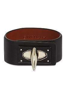 GIVENCHY Shark lock leather cuff bracelet
