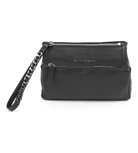 GIVENCHY Pandora grained-leather wristlet pouch (Black