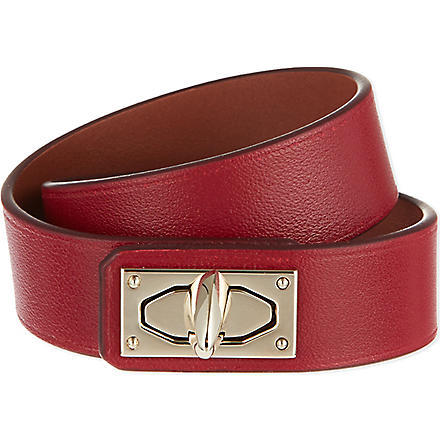 GIVENCHY Two-row shark lock calfskin cuff (Burgundy