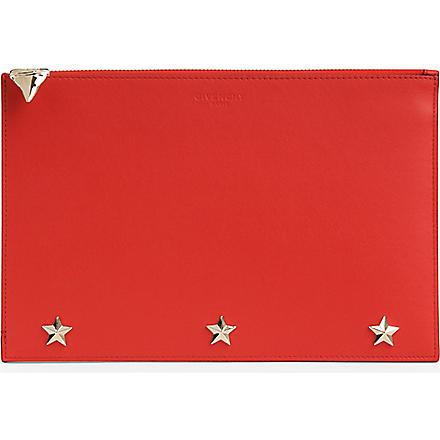 GIVENCHY Shark leather pouch (Red