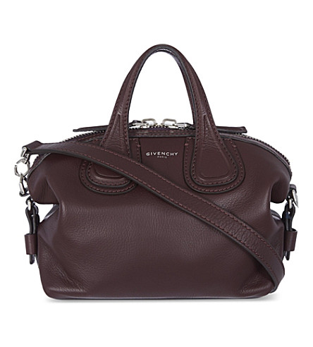 GIVENCHY Nightingale micro leather tote (Oxblood