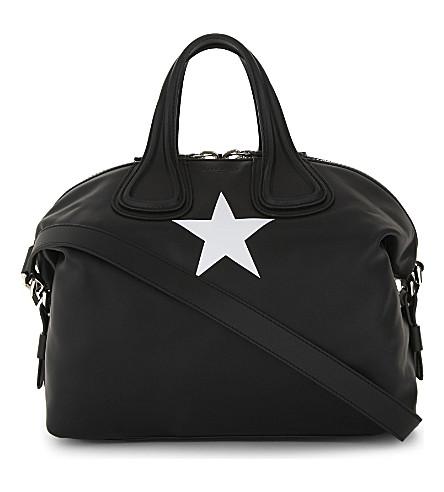 GIVENCHY Nightingale Star medium leather shoulder bag (Black+white
