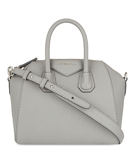 GIVENCHY Antigona sugar mini soft-grained leather tote (Pearl+grey